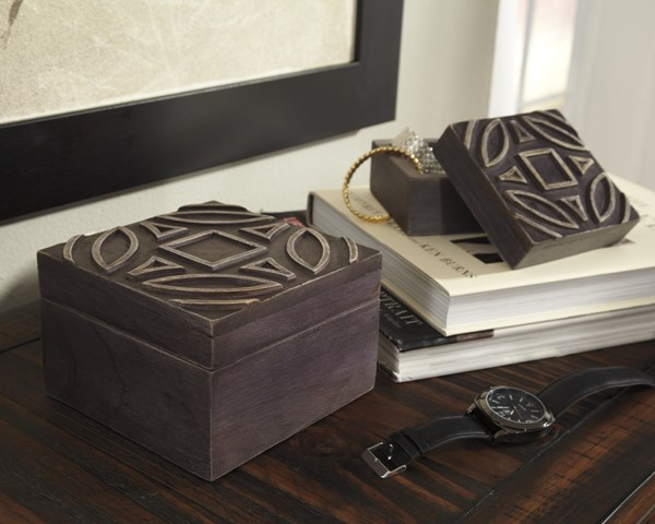 2 Marquise Urbanology Antique Black Wood Square Boxs A2000184B