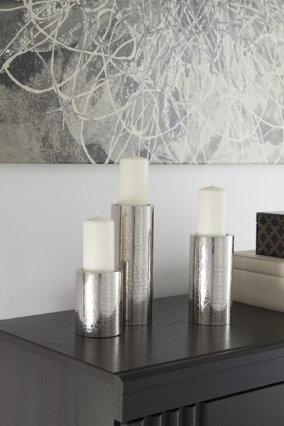 3 Keyon Contemporary Nickel Metal Candle Holders (2/CS) A2000196