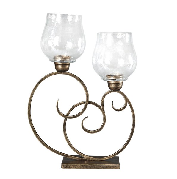 2 Oba Traditional Antique Gold Metal Glass Candle Holders A2000201