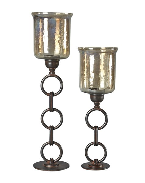 2 Oana Casual Bronze Glass Metal Candle Holders A2000202C