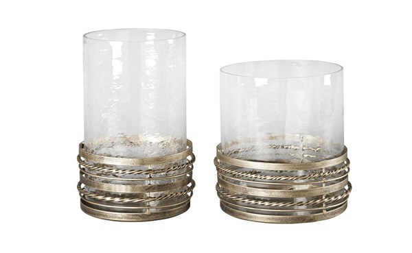 2 Obaida Contemporary Antique Gold Metal Glass Candle Holders A2000203
