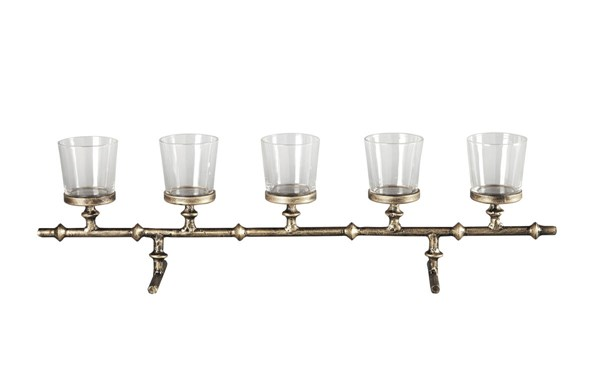 Obasi Casual Antique Gold Glass Metal Candle Holder A2000205C