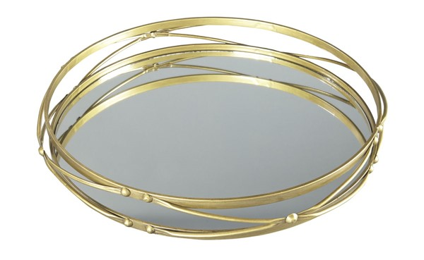 2 Ocelfa Traditional Antique Gold Metal Trays A2000209