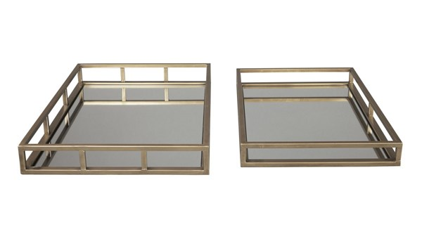 2 Ocie Contemporary Antique Gold Metal Rectangle Trays A2000211T