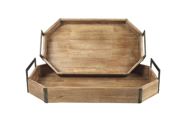 2 Octavios Contemporary Brown Gold Wood Metal Trays A2000212