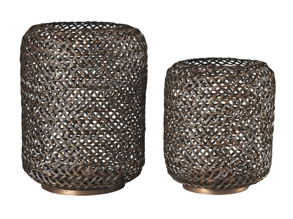 2 Odbart Contemporary Bronze Metal Candle Holders A2000226C