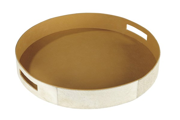 2 Odeda Contemporary Beige Faux Leather Trays A2000227