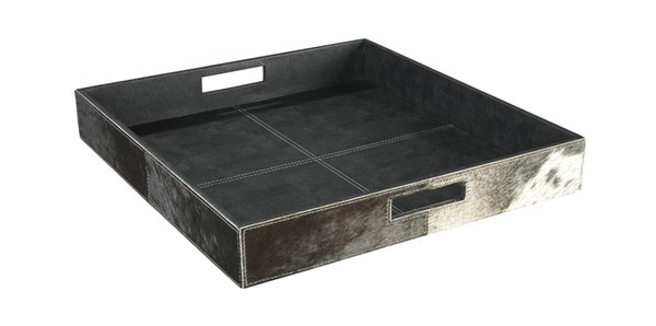 2 Odeda Contemporary Black Faux Leather Square Trays A2000230