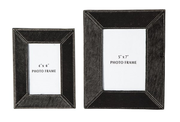 2 Odeda Contemporary Black Leather Photo Frames A2000231
