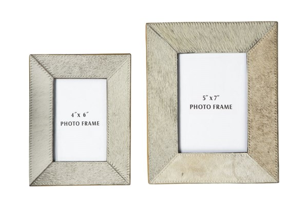 2 Odeda Contemporary Beige Leather Photo Frames A2000232