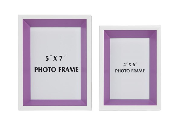 2 Obie Contemporary White Purple Rectangle Photo Frames A2080001F
