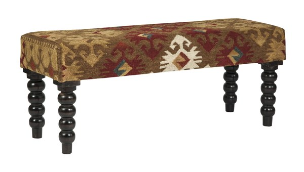Deniz Casual Fabric Wood Accent Bench A3000004
