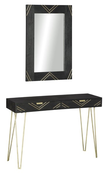 Ashley Furniture Coramont Black Gold 2pc Console Table With Mirror A4000212