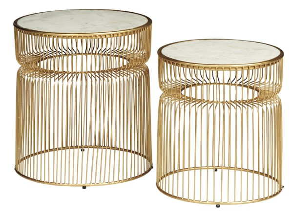 Ashley Furniture Vernway White Gold 2pc Accent Table Set A4000250