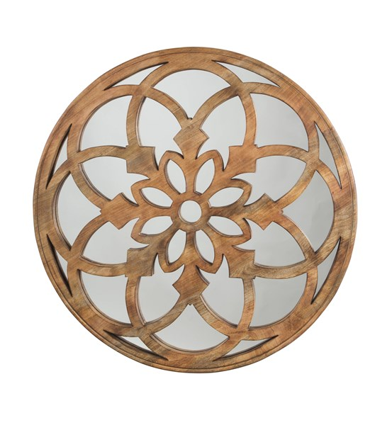 Oilhane Casual Natural Wood Glass Accent Mirror A8010029