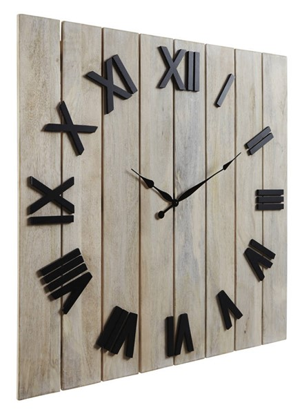 Ashley Furniture Bronson Whitewash Black Wall Clock A8010179