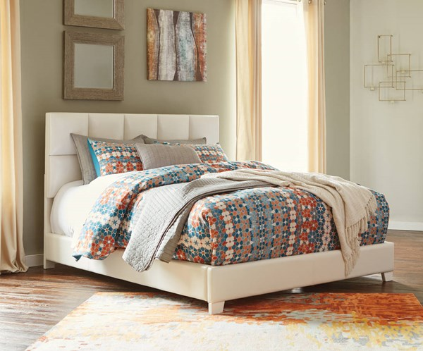 Ashley Furniture Contemporary White Queen Upholstered Bed