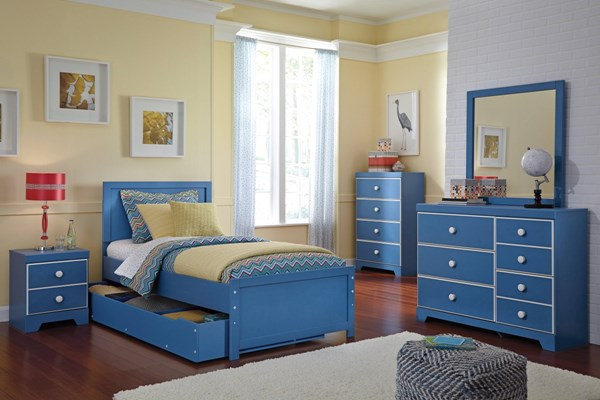 Bronilly Metro Modern Blue 2pc Bedroom Set W/Twin Panel Storage Bed B045-BR-S3