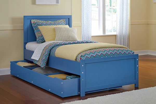 Bronilly Metro Modern Blue Twin Panel Storage Bed B045-TWST