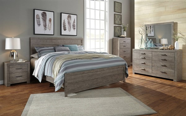 Culverbach Casual Gray Wood Glass Master Bedroom Set B070-BR