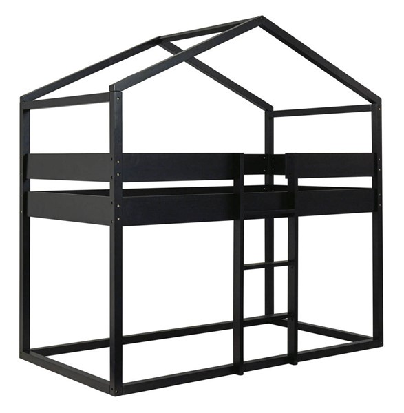 Ashley Furniture Flannibrook Black Twin Twin House Loft Panel With Rails B082-156P