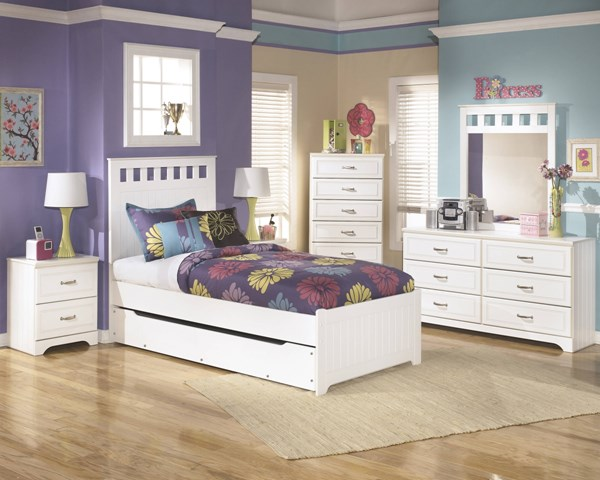 Lulu Casual White Wood 2pc Bedroom Set W/Twin Trundle Panel Bed B102-TPBS
