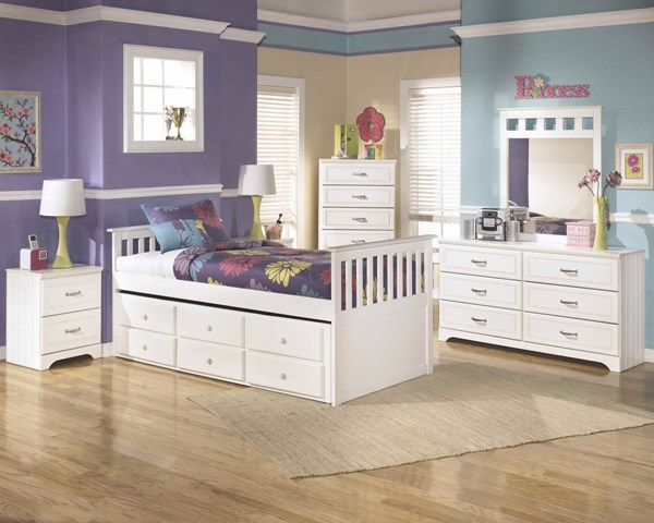 Lulu White Wood 2pc Bedroom Set W/Twin Trundle & Drawers Bed B102-S1