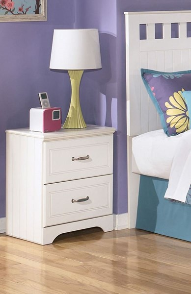Lulu Casual White Wood 2 Drawers Night Stand B102-92