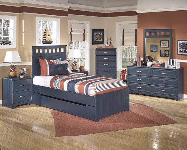 Leo Youth Blue Wood 2pc Bedroom Set W/Twin Trundle Bed B103-BR-S3