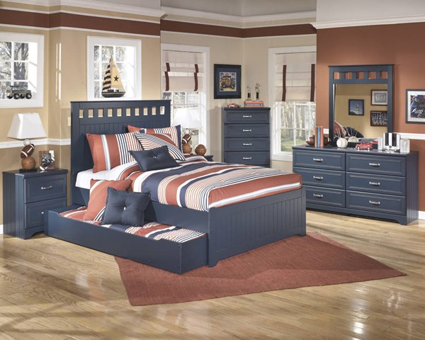 Leo Youth Blue Wood 2pc Bedroom Set W/Full Trundle Bed B103-FTBED