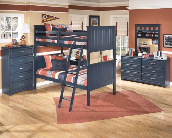 Leo Youth Blue Wood 2pc Bedroom Set W/Twin Bunk Bed B103-BR-S4