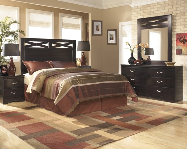 X-cess Contemporary Merlot Wood 2pc Bedroom Set W/Full/Queen Headboard B117-S2