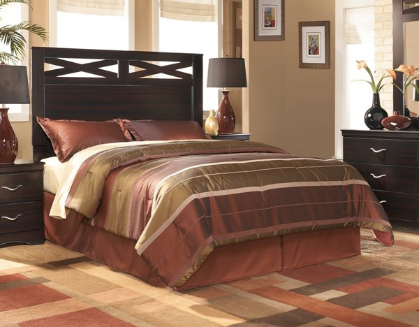 X-cess Contemporary Merlot Wood Queen/Full Panel Headboard B117-57