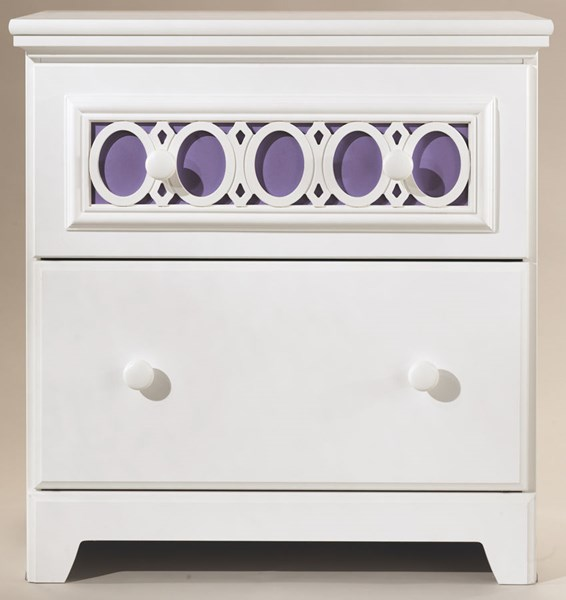 Zayley Replicated White Paint Two Drawer Night Stand B131-92