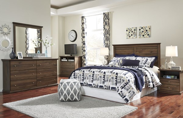 Burminson Casual Brown Glass Wood 5pc Bedroom Sets B135-BR-HDBD-VAR