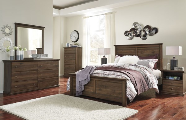 Burminson Casual Brown Wood Glass 5pc Bedroom Set W/King Panel Bed B135-BR-S4
