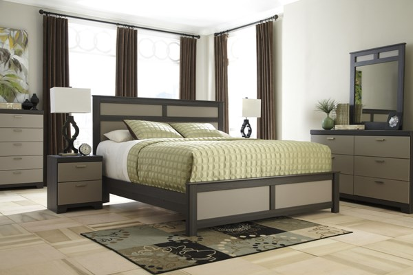 Wellatown Contemporary Gray Wood 5pc Bedroom Sets B142-BR-S