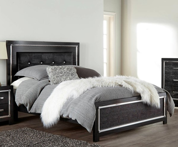 Ashley Furniture Kaydell Black Upholstered Panel Beds B1420-UPNL-BED-VAR