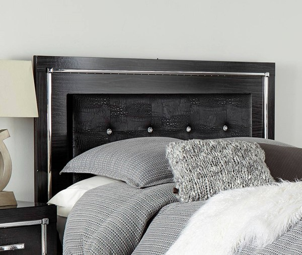 Ashley Furniture Kaydell Black Upholstered Panel Headboards With Frame B1420-HDBD-VAR