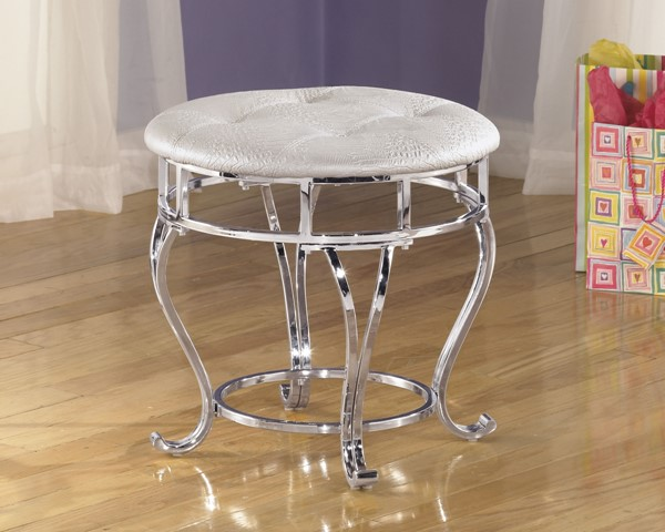 Zarollina Youth Silver Metal Upholstered Stool (1/Cn) B182-01