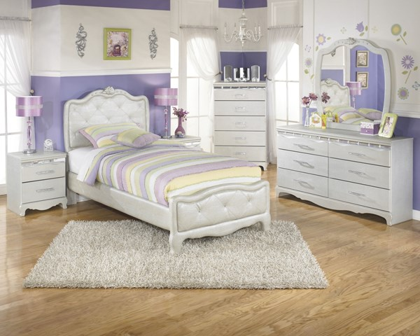Zarollina Silver Wood Glass 2pc Bedroom Sets B182-BR-S