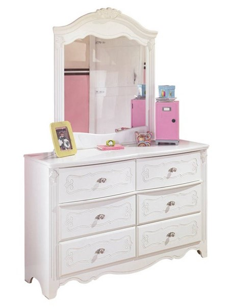 Ashley Furniture Exquisite Luminous White Wood Dresser and Mirror B188-21-26