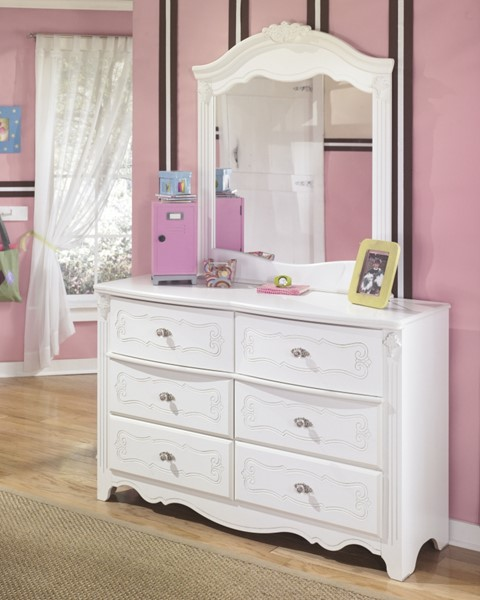 Exquisite Luminous White Wood Dresser And Mirror B188-21-26