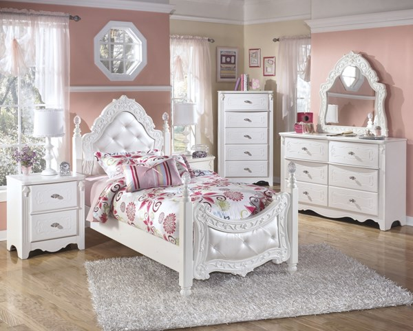 Exquisite Luminous White Wood Glass 2pc Bedroom Set W/Twin Bed B188-BR-S1