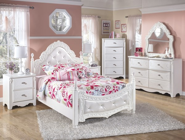 Exquisite Luminous White Wood Glass 2pc Bedroom Set W/Full Bed B188-BR-S2