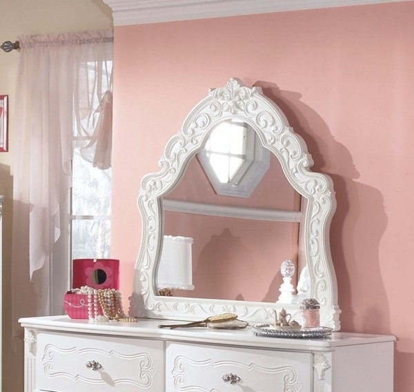 Exquisite Luminous White Wood Glass French Style Bedroom Mirror B188-37