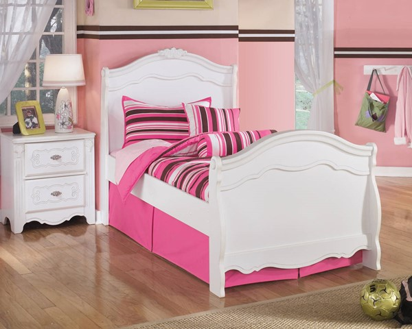 Ashley Furniture Exquisite White 2pc Bedroom Set with Twin Sleigh Bed B188-Set1