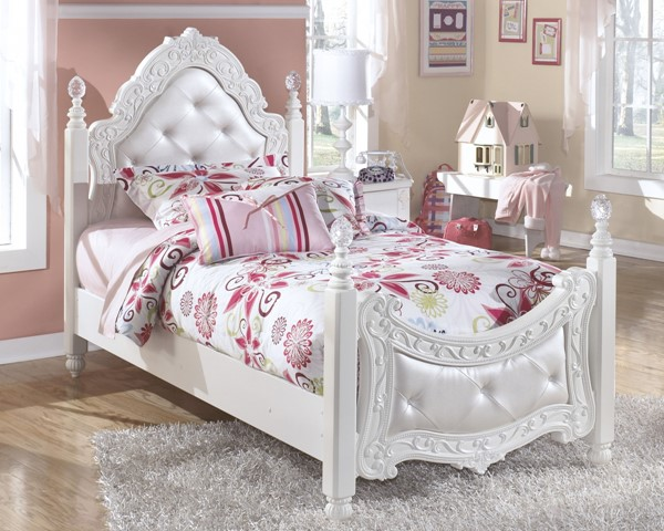 Exquisite Luminous White Wood Twin Poster Bed B188-TP