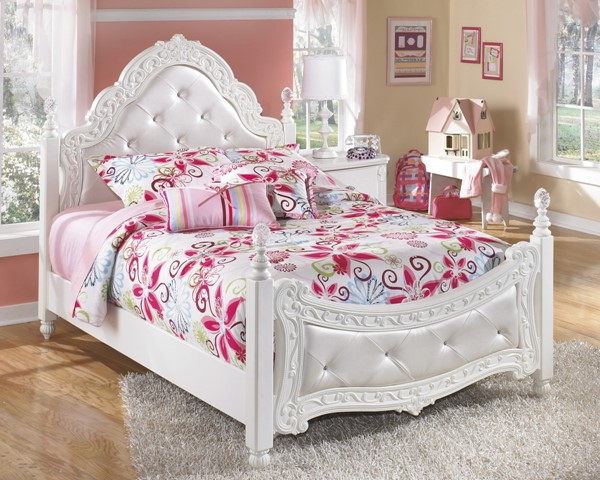 Exquisite Luminous White Wood Full Poster Bed B188-FP