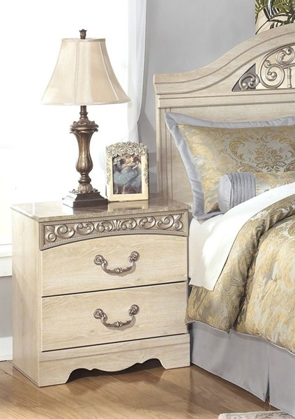 Catalina Traditional Antique White Wood Night Stand B196-92